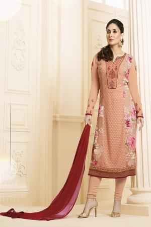 Kareena Kapoor Orange Georgette Heavy Embroidery Schiffli Work  Salwar Kameez