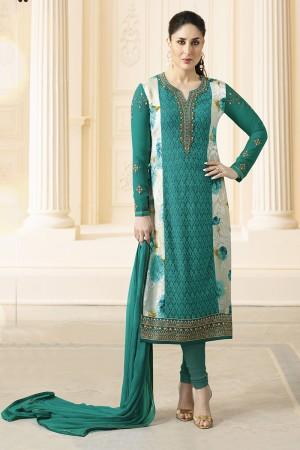 Kareena Kapoor Rama Georgette Heavy Embroidery Schiffli Work  Salwar Kameez
