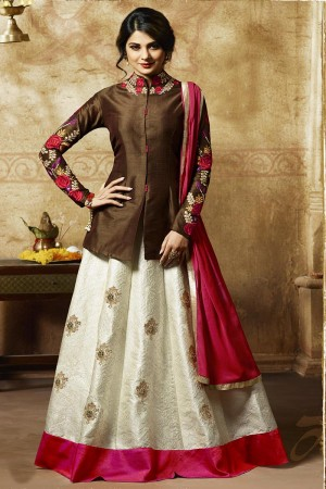Jennifer Winget Brown German Silk Resham Embroidery with Butta Work on Lehenga Salwar Kameez