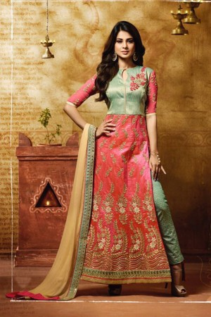 Jennifer Winget Peach Banarasi Silk Heavy Embroidery Coding and Zari Work with Gitta Patti Salwar Kameez