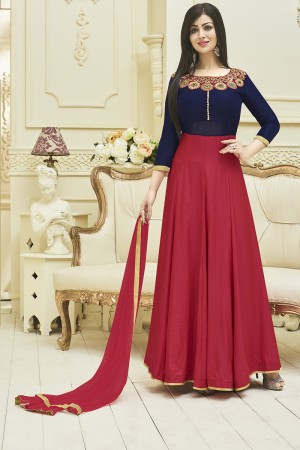 Ayesha Takia Blue & Red Banarsi & Malbury Silk Embroidery Neck Line Work Salwar Kameez