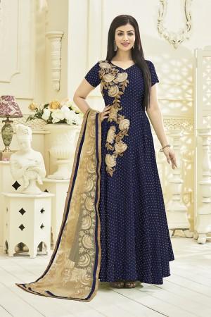 Ayesha Takia Blue Viscose Satin Heavy Gota Ribin Work Salwar Kameez