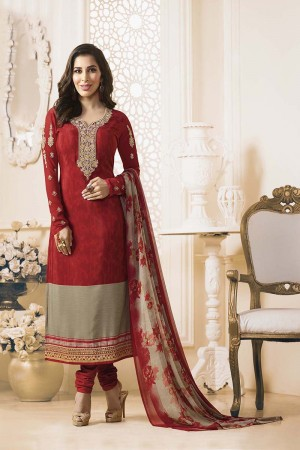 Sophie Choudry Red Creap Heavy Embroiery On Neck and Sleeve with Lace Border Salwar Kameez