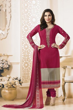 Sophie Choudry Maroon Creap Heavy Embroiery On Neck and Sleeve with Lace Border Salwar Kameez