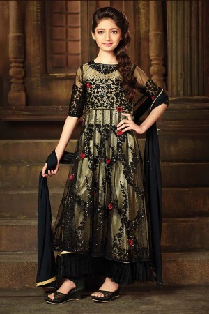Designer Balck&LightYellow Net Heavy Embroidery Thread and Sequance Work with Diamond Work Salwar Kameez