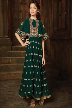 Beguiling Dark Green Georgette Heavy Embroidery Zari Work on Neck and Sleeve with Butti Work Salwar Kameez