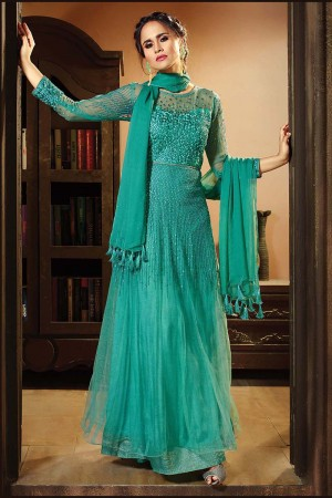 Classy Teal Green Net Heavy Embroidery Thread and Sequance Work with Diamond Work Salwar Kameez