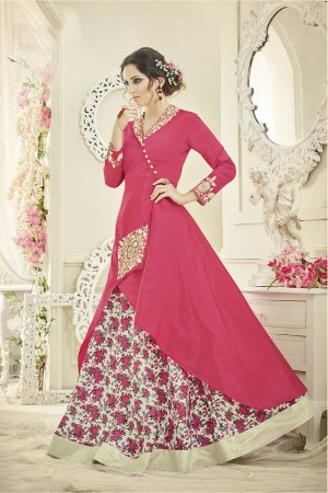 Peppy Pink Tafetta Silk Heavy Embroiery On Top and Sleeve with Floral Printed Lehenga  Full Stitch with Size - XL