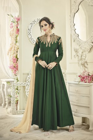 Fab Dark Green Tafetta Silk Heavy Embroiery Thread Work on Top and Sleeve with Diamond Work Full Stitch with Size - XL