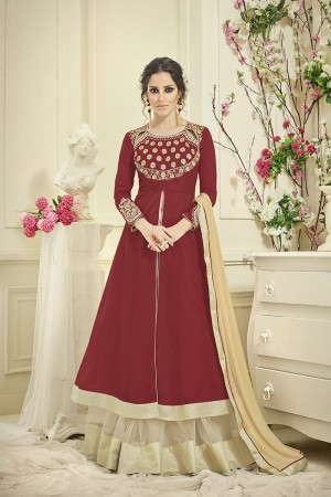 Picturesque Red Tafetta Silk Heavy Embroiery Thread Work on Top and Sleeve with Diamond Work Full Stitch with Size - XL