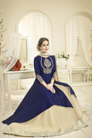 Beautiful Navy Blue Tafetta Silk Heavy Embroiery Thread Work on Top and Sleeve with Diamond Work Full Stitch with Size - XL
