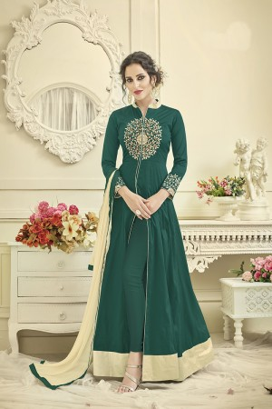 Modish Rama Green Tafetta Silk Heavy Embroiery Thread Work on Top and Sleeve with Diamond Work Full Stitch with Size - XL
