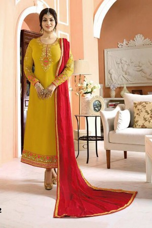 Ayesh Takia Mustard Georgette Heavy Embroiery On Top and Sleeve with Lace Border Salwar Kameez