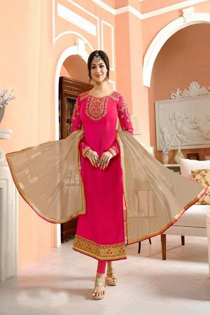 Ayesh Takia Rani Pink Georgette Heavy Embroiery On Top and Sleeve with Lace Border Salwar Kameez