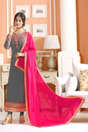 Ayesh Takia Grey Georgette Heavy Embroiery On Top and Sleeve with Lace Border Salwar Kameez
