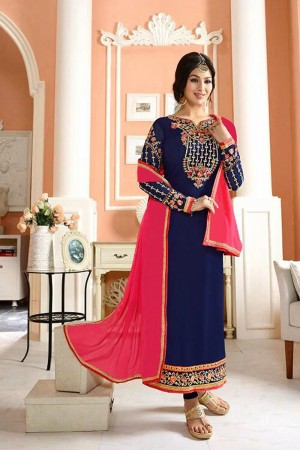 Ayesh Takia Navy Blue Georgette Heavy Embroiery On Top and Sleeve with Lace Border Salwar Kameez