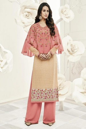 Brilliant Beige Georgette Heavy Embroiery Schiffli Work on Top with Embroidery Cap Salwar Kameez