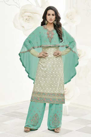 Enticing Pista Green Georgette Heavy Embroiery Schiffli Work on Top with Embroidery Cap Salwar Kameez