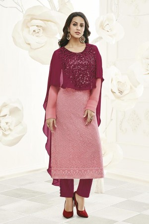 Striking Pink Georgette Heavy Embroiery Schiffli Work on Top with Embroidery Cap Salwar Kameez