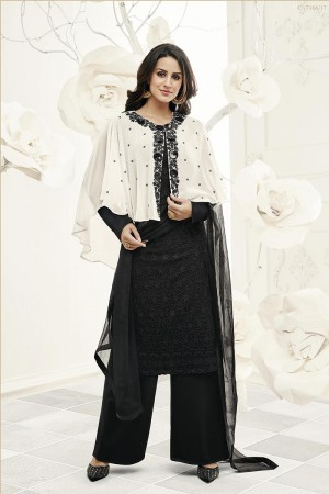Enchanting Black Georgette Heavy Embroiery Schiffli Work on Top with Embroidery Cap Salwar Kameez