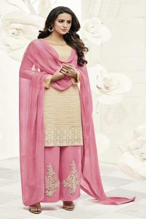 Mesmerising Beige Georgette Heavy Embroiery Schiffli Work on Top with Embroidery Cap Salwar Kameez