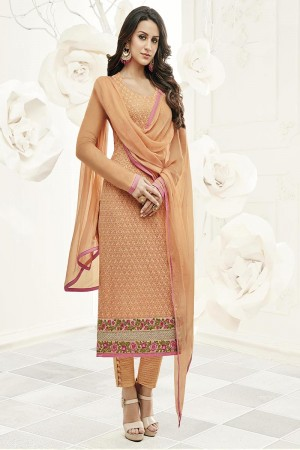Ethereal Orange Georgette Heavy Embroiery Schiffli Work on Top with Embroidery Cap Salwar Kameez