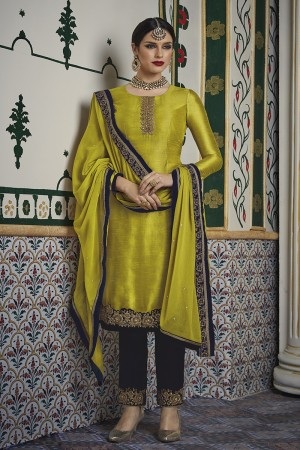 Contemporary Lemon Yellow Velvet Embroidery on Neck with Lace Border and Embroidery Cap Salwar Kameez