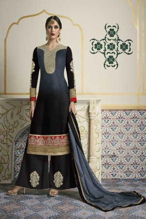 Brilliant Black & Grey Velvet Heavy Embroidery on Neck and Sleeve and Butta Work on Bottom Salwar Kameez