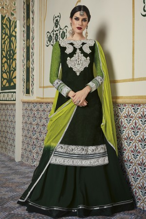 Enticing Dark Green Velvet Heavy Embroidery On Neck and Sleeve with Lace Border Salwar Kameez
