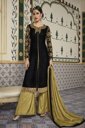 Striking Black Velvet Embroidery on Neck with Lace Border and Embroidery Cap Salwar Kameez