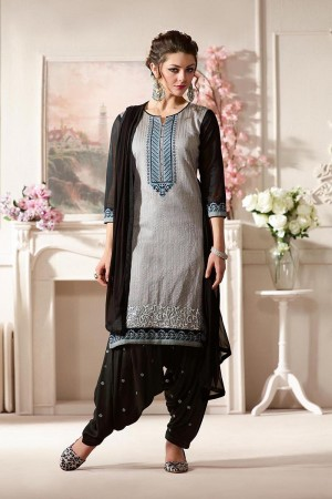 Versatile Grey  Pure Chanderi Heavy Embroidery on Neck with Lace Border and Butti Work on Bottom Dress Material