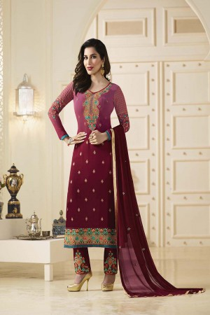 Sophie Choudry Brick Georgette Heavy Embroidery on Neck and Bottom Salwar Kameez