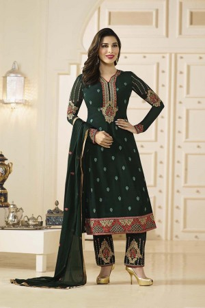 Sophie Choudry Dark Green Georgette Heavy Embroidery on Neck and Bottom Salwar Kameez