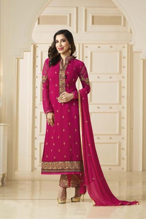 Sophie Choudry Navy Blue Georgette Heavy Embroidery on Neck and Bottom Salwar Kameez