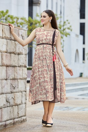 Distinctive Cream Georgette Print with Fancy Botton  Kurti