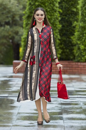 Engrossing Multi Color Georgette Print with Fancy Botton  Kurti