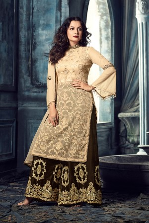Dia Mirza Cream Soft Net Heavy Embroidery Zari and Thread Work Salwar Kameez