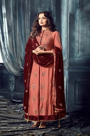 Dia Mirza Peach Viscos Heavy Embroidery Zari and Thread Work on Top and Butti Work on Dupatta Salwar Kameez