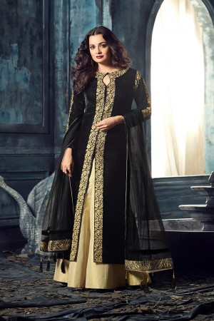 Dia Mirza Black Velvet Heavy Embroidery Zari and Thread Work Salwar Kameez