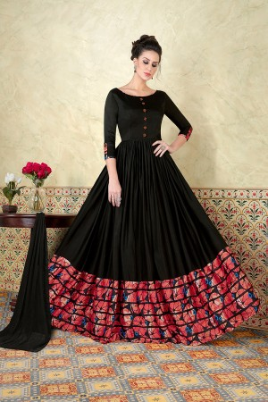 Immaculate Black Satin Digital Modal Print  Salwar Kameez