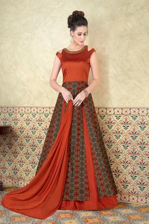 Enigmatic Orange Tussar Silk Digital Modal Print  Salwar Kameez