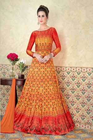 Affluent Orange Satin Digital Modal Print  Salwar Kameez