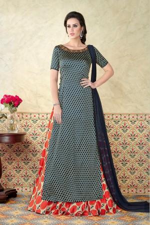 Decent Multi Color Satin Digital Modal Print  Salwar Kameez