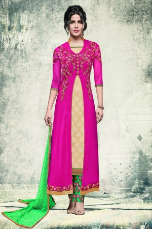 Priyanka Chopra Rani Pink Georgette&Jacquard Heavy Embroidery Top with Embroidery Bottom Salwar Kameez