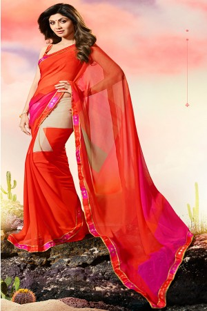 Shilpa Shetty Red Georgette Print with Lace Border Saree