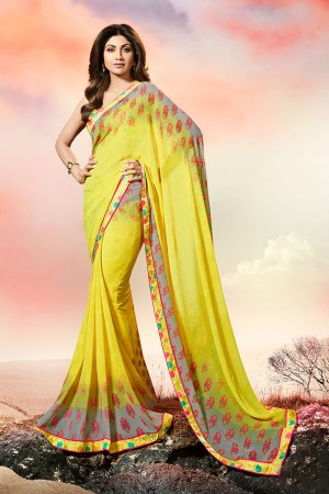 Shilpa Shetty Yellow Georgette Print with Lace Border Saree