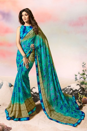 Shilpa Shetty Sea Blue Georgette Print with Lace Border Saree