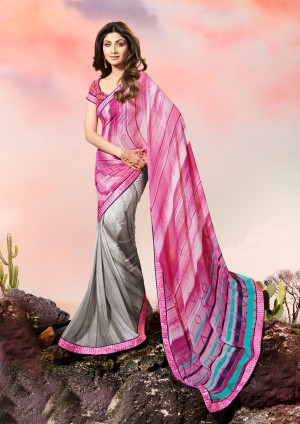 Shilpa Shetty Pink&Grey Georgette Print with Lace Border Saree