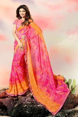 Shilpa Shetty Multi Color Georgette Print with Lace Border Saree