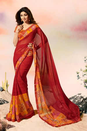 Shilpa Shetty Maroon Georgette Print with Lace Border Saree